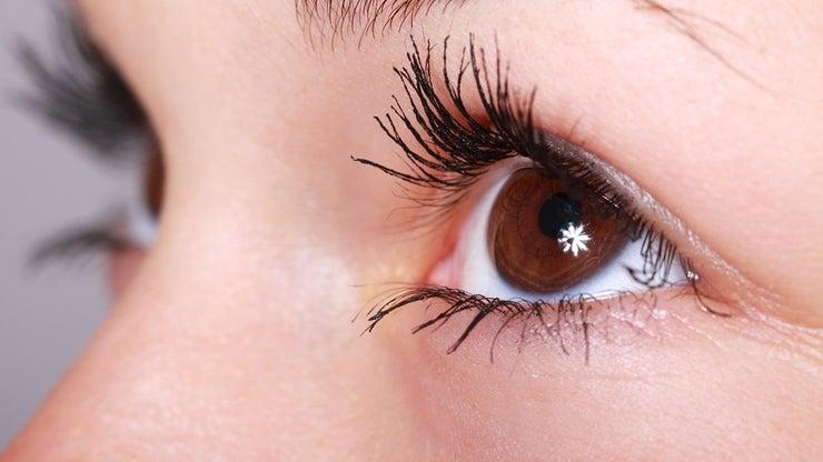 Closeup of brown eyes.